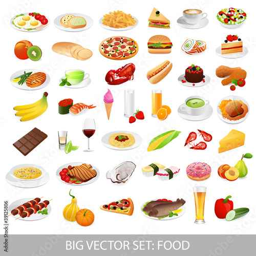 Big vector set: food (various delicious dishes)