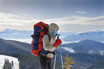 Young woman hiker hiking in Karpatian
