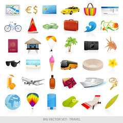 Big vector set: travel (icons) - detailed illustrations