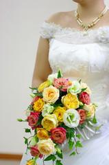 美しい花嫁とブーケ/結婚式