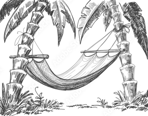 Hammock and palm trees drawing - 39126237