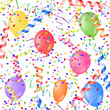 colorful paper streamers with confetti and balloons