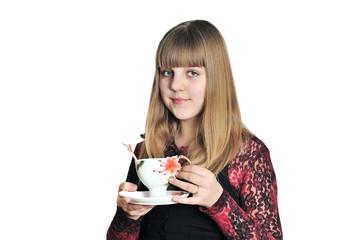 teen girl drinking a tea