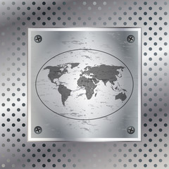 World map over metallic plate