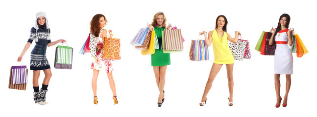 Young and attractive women with shopping bags