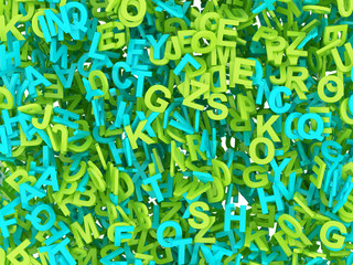 Buchstaben durcheinander grün blau 3D