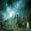 Endzeitstimmung / Weltuntergang - Düstere Stadt in der Zukunft