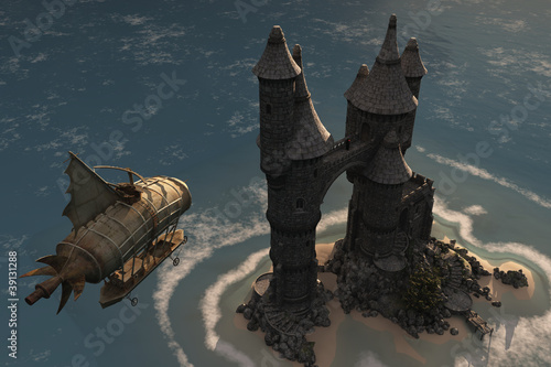 Airship and fantasy island castle