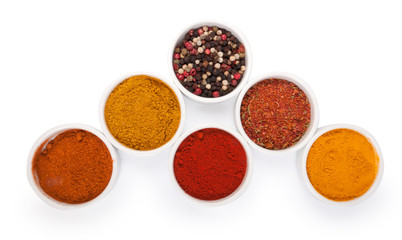 Spices in porcelain plates