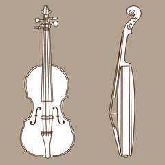 violin silhouette on brown  background