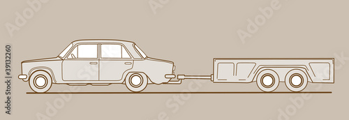 car with trailor on brown  background