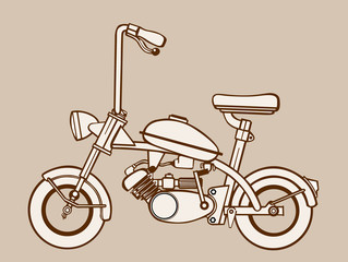 moped silhouette on brown  background