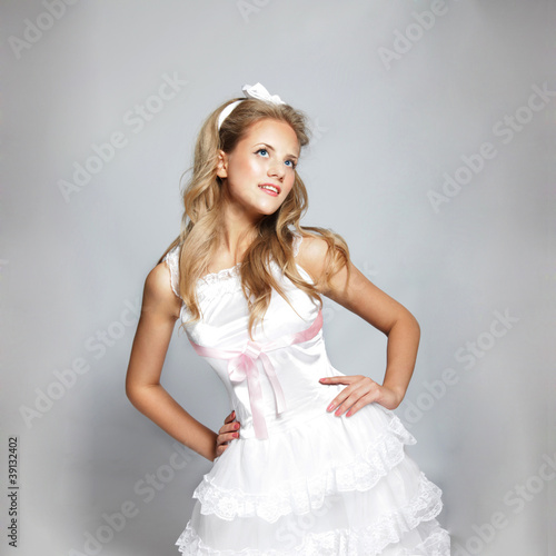 Adorable girl in a costume of Cinderella