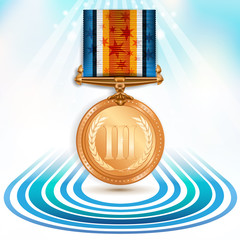Bronze medal with ribbon over sky background