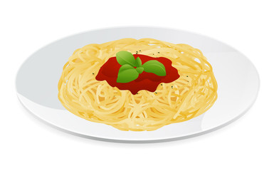 Vector illustration of spaghetti bolognese. Italian pasta