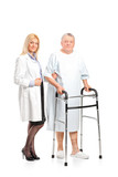 Female doctor or nurse helping a senior patient to use a walker