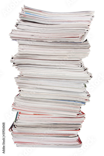 The high stack of old magazines