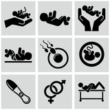 Pregnancy icons set.