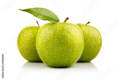 Three ripe green apples with isolated on white