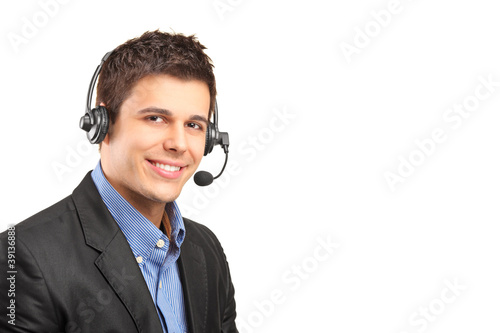 Handsome customer service operator wearing a headset