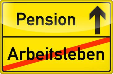 Schild Pension / Arbeitsleben