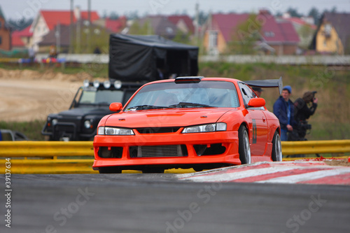 red car on the track