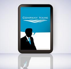 Business man screen tablet computer