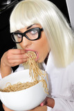 blond, girl, hungry, eating, posh, spaghetti, young