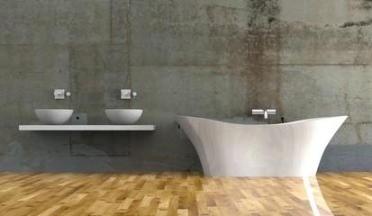 Wohndesign - Bad vor Betonwand