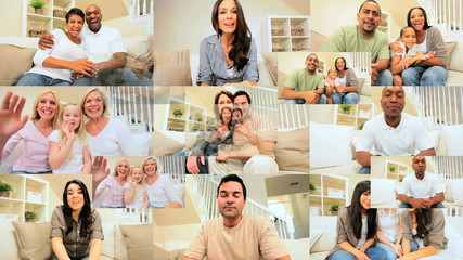 Montage of Multi Ethnic People Using Online Video Chat