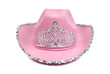Pink cowboy hat with tiara on white background.