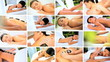 Montage of Multi Ethnic Females at Health Spa