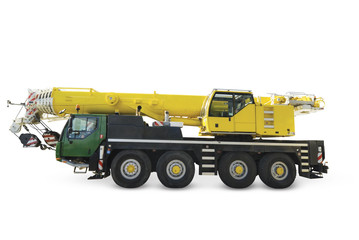 Mobile crane on white background, isolated, with clipping path.