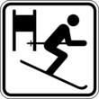 Ski fahren Abfahrt Skifahrer Schild Zeichen Symbol Sport