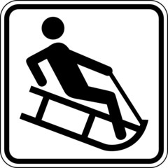 Schlittenfahren Rodeln Winter Schild Zeichen Symbol