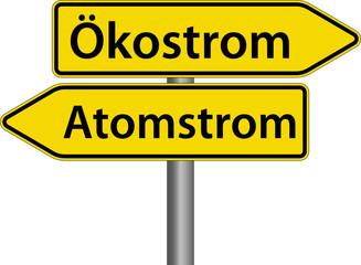 Ökostrom oder Atomstrom - Schild - Wegweiser