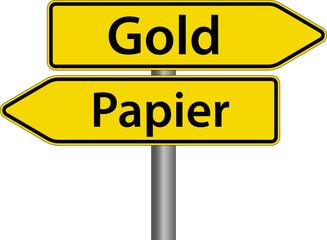 Gold oder Papier Devisen Wertpapiere Schild