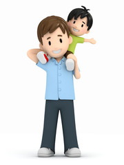 3d render of father and son