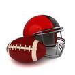Footbal and Football Helmet