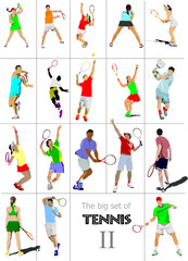 Big cet # II of tennis players. Colored Vector illustration for