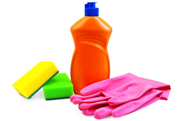 Bottle of detergent with rubber gloves and two sponges