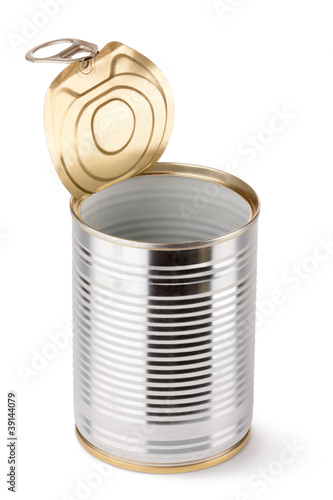 Empty opened tin