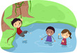 Campers Playing in a River