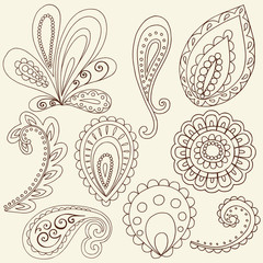 Henna Flower Paisley Doodles Vector Design Elements