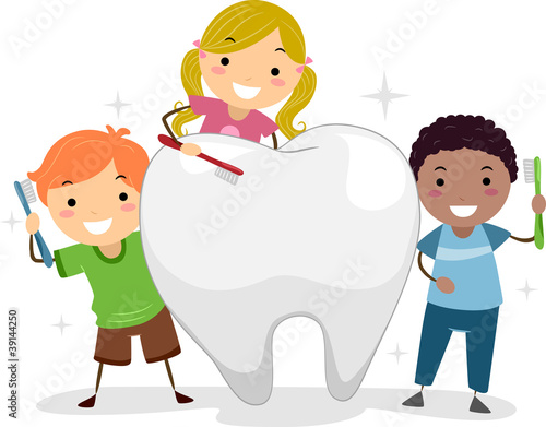 Kids Brushing a Tooth