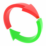 Red and green arrows. Cycle.