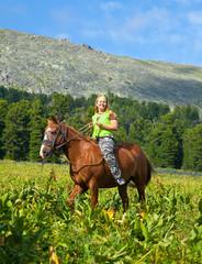girl riding a horse bareback