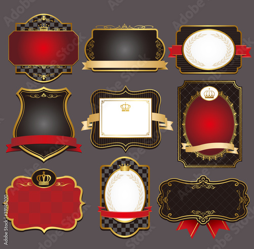 set of black gold-framed labels vector