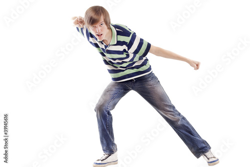 Young happy man dancing locking or hip-hop