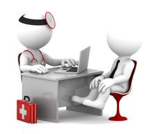 Konsultacje lekarskie. Lekarz i pacjent rozmawia w biurze